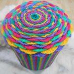 вязаный пуф разноцветный