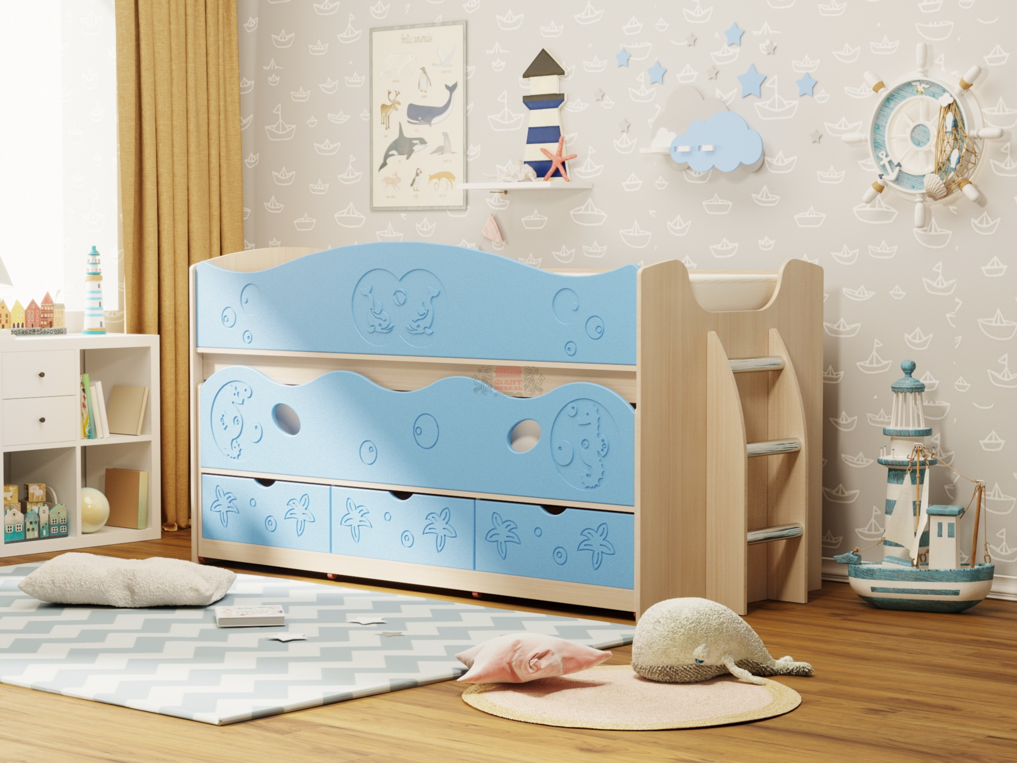 организация пространство с выдвижной кроватью