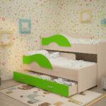 выдвижная кровать салатовая