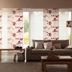 японские шторы с красным рисунком