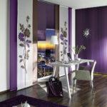 японские шторы фиолетовые