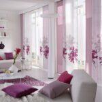 японские шторы с фиолетовыми цветами
