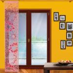 японские шторы розовые
