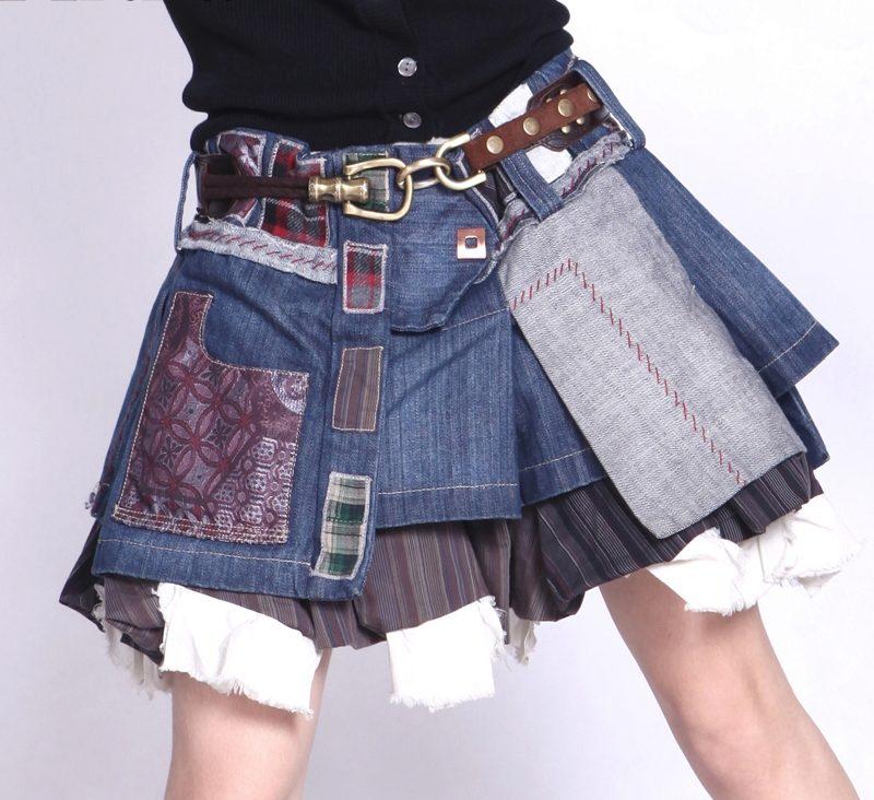 юбка из джинсов бохо фото