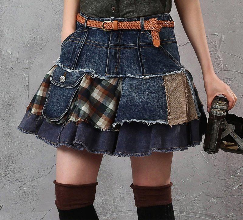 юбка из джинсов бохо