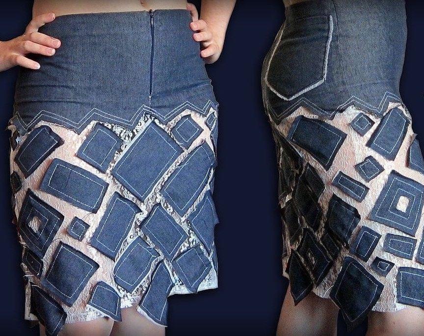 юбка из джинсов дизайн
