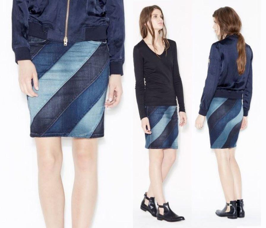 юбка из джинсов лоскутная