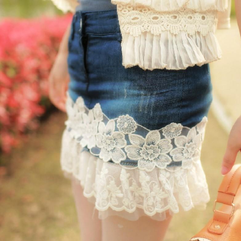 юбка из джинсов с кружевом