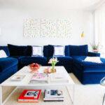 замшевый диван синий