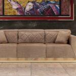 замшевый диван уютный