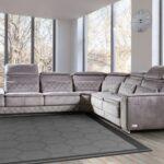 замшевый диван серый