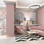 диван из замши розовый