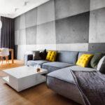 диван из замши серый