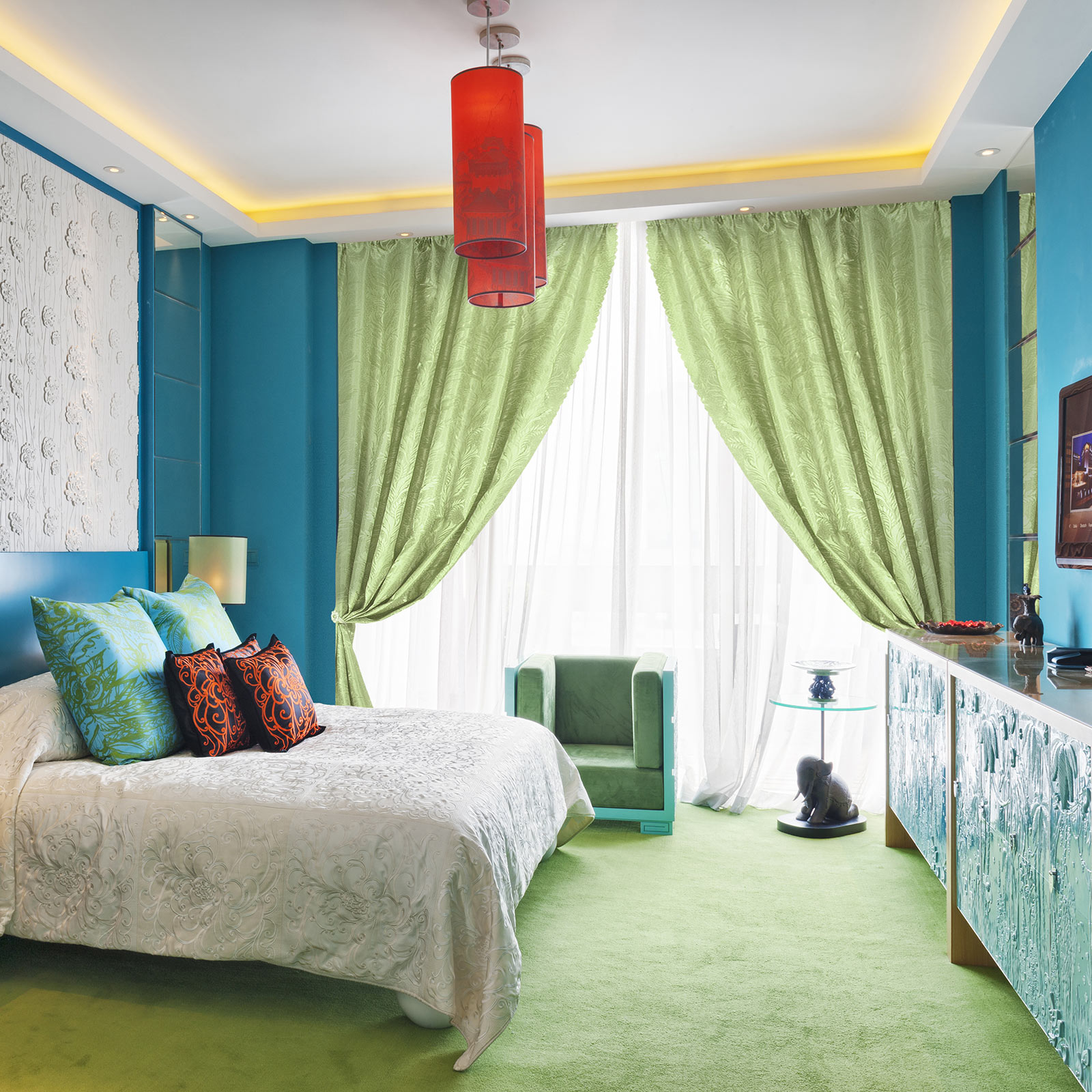 зелено-голубые шторы