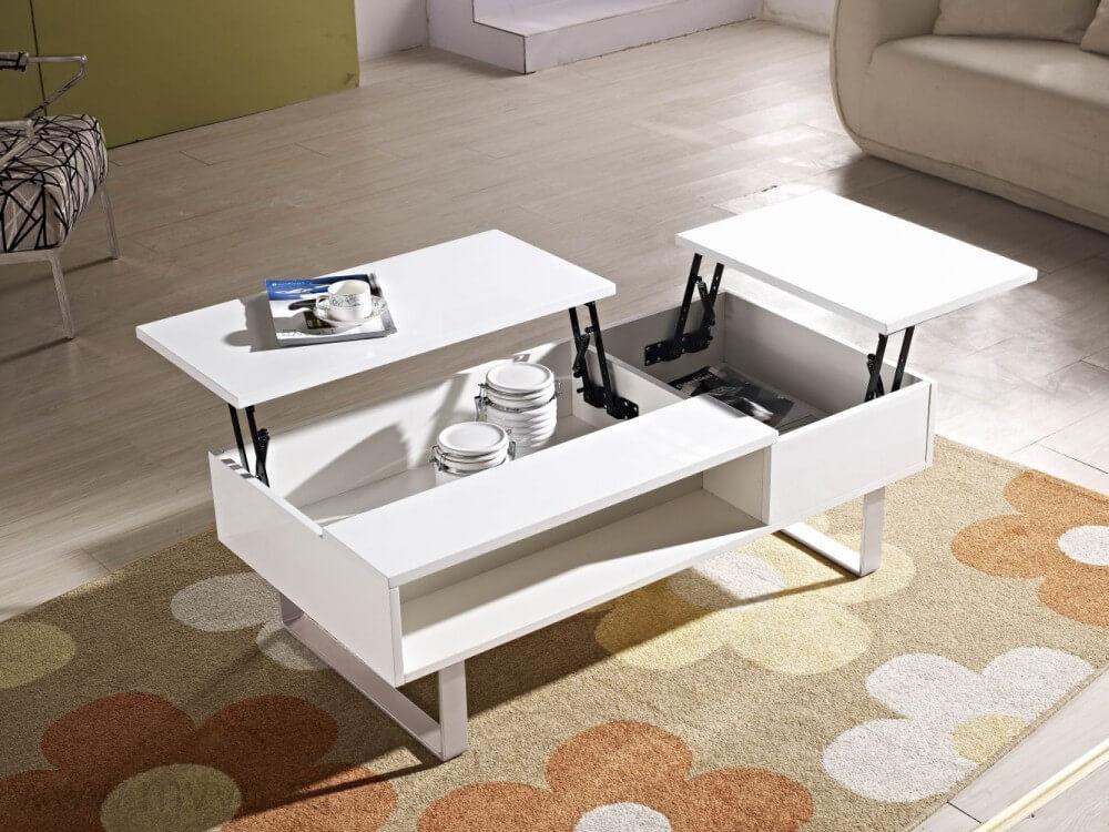 белый стол трансформер в гостиной