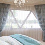 бирюзовые цветастые шторы