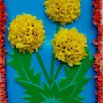 аппликации из салфеток желтые цветы