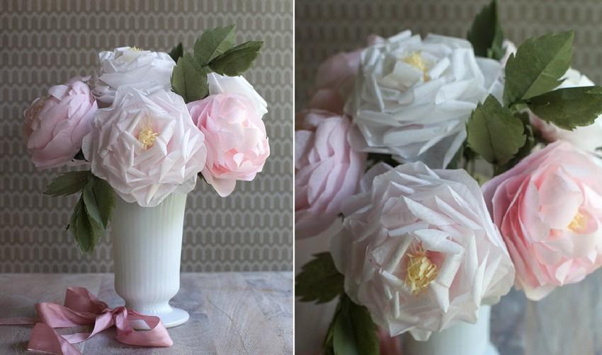 букет роз из салфеток