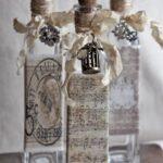 декор бутылки с нотами