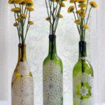 декор бутылки кружевом