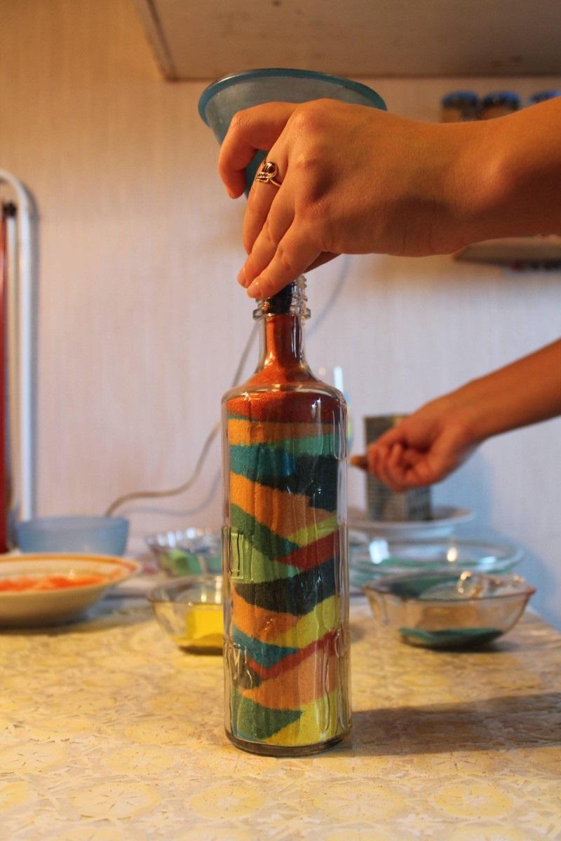 декор бутылки бисером