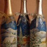 декор бутылки зимний