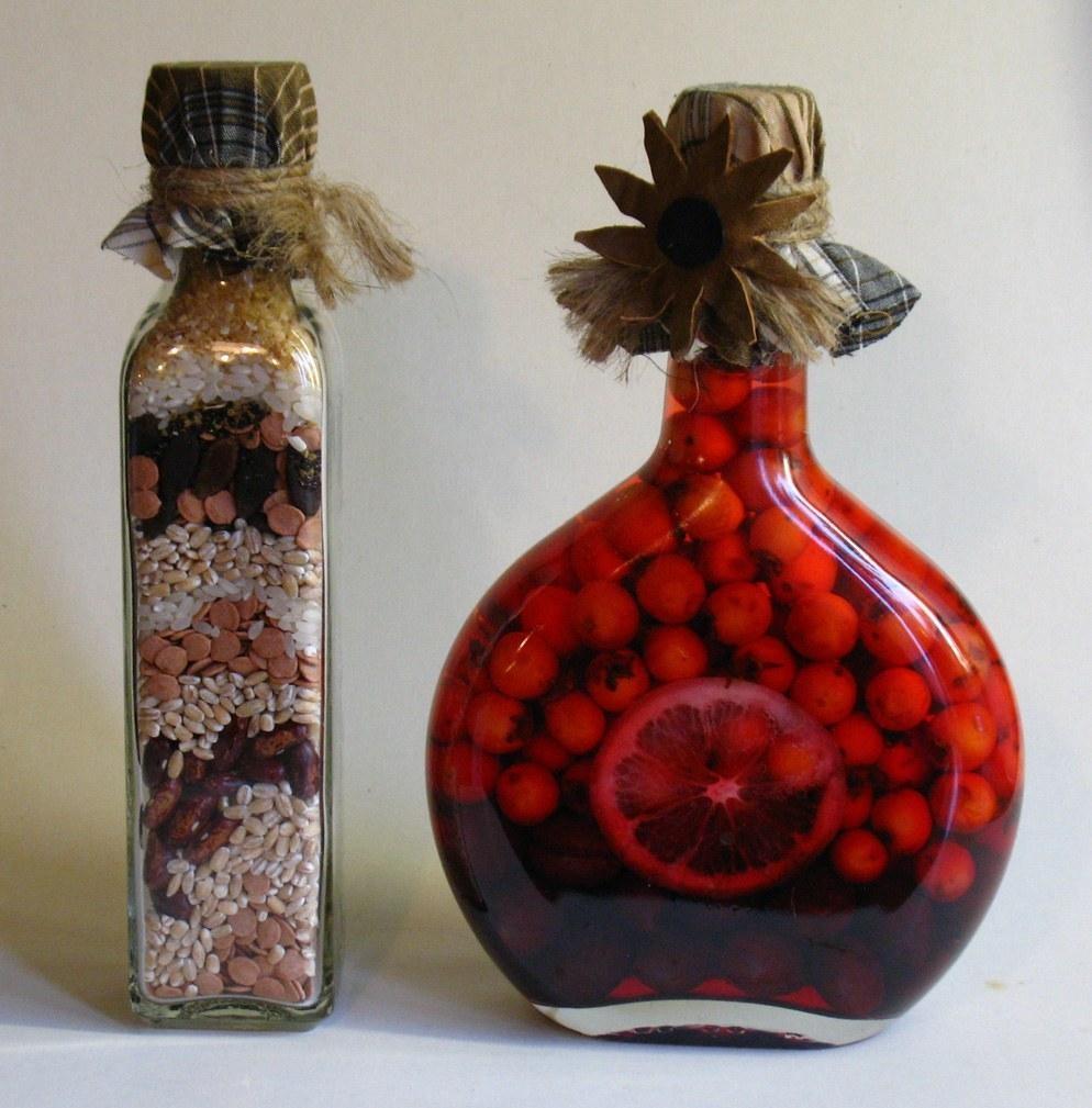 декор бутылок крупами
