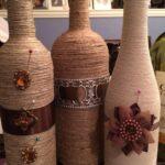 декор бутылки веревка и цветы