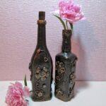 декор бутылки под металл