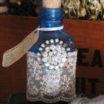 декор бутылки камушками