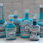 декор бутылки бирюзовый
