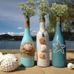декор бутылки морской