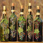 декор бутылки виноградом