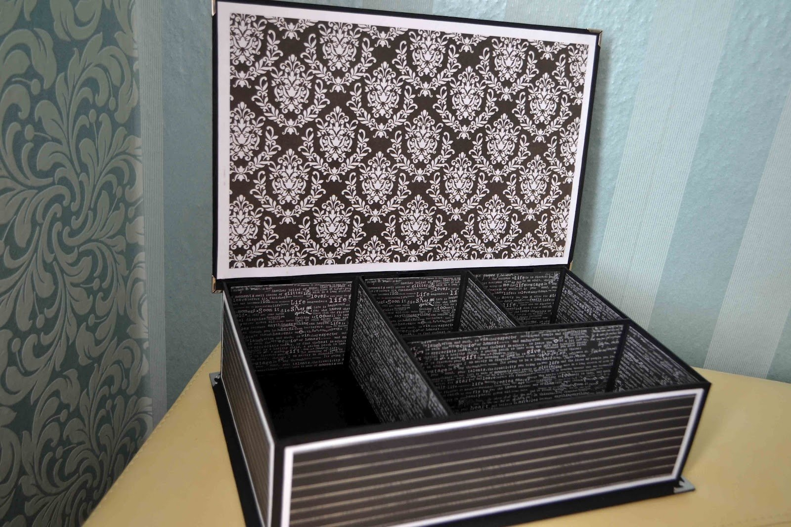 коробка декорированная обоями