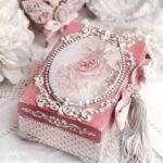 декор коробки розовая роза