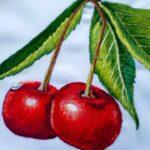 вышитая подушка вишня