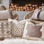 вышитая подушка серые