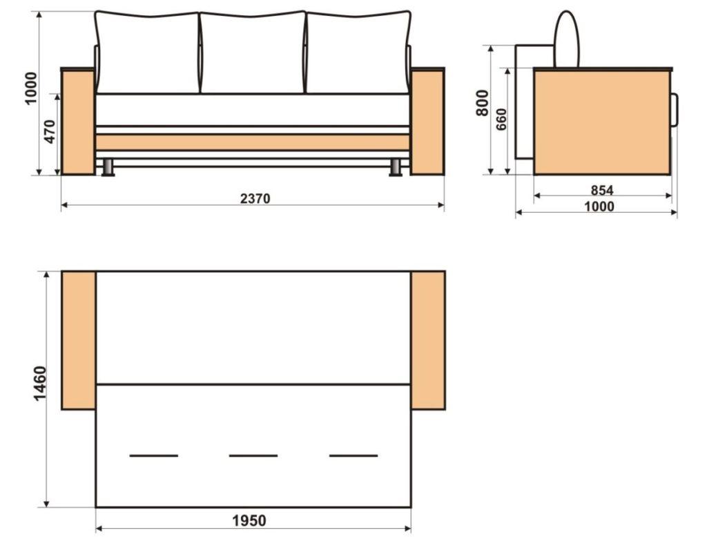 диван еврокнижка чертеж фото
