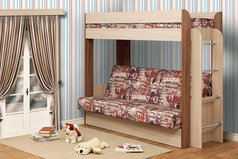 двухъярусная кровать с диваном-книжкой
