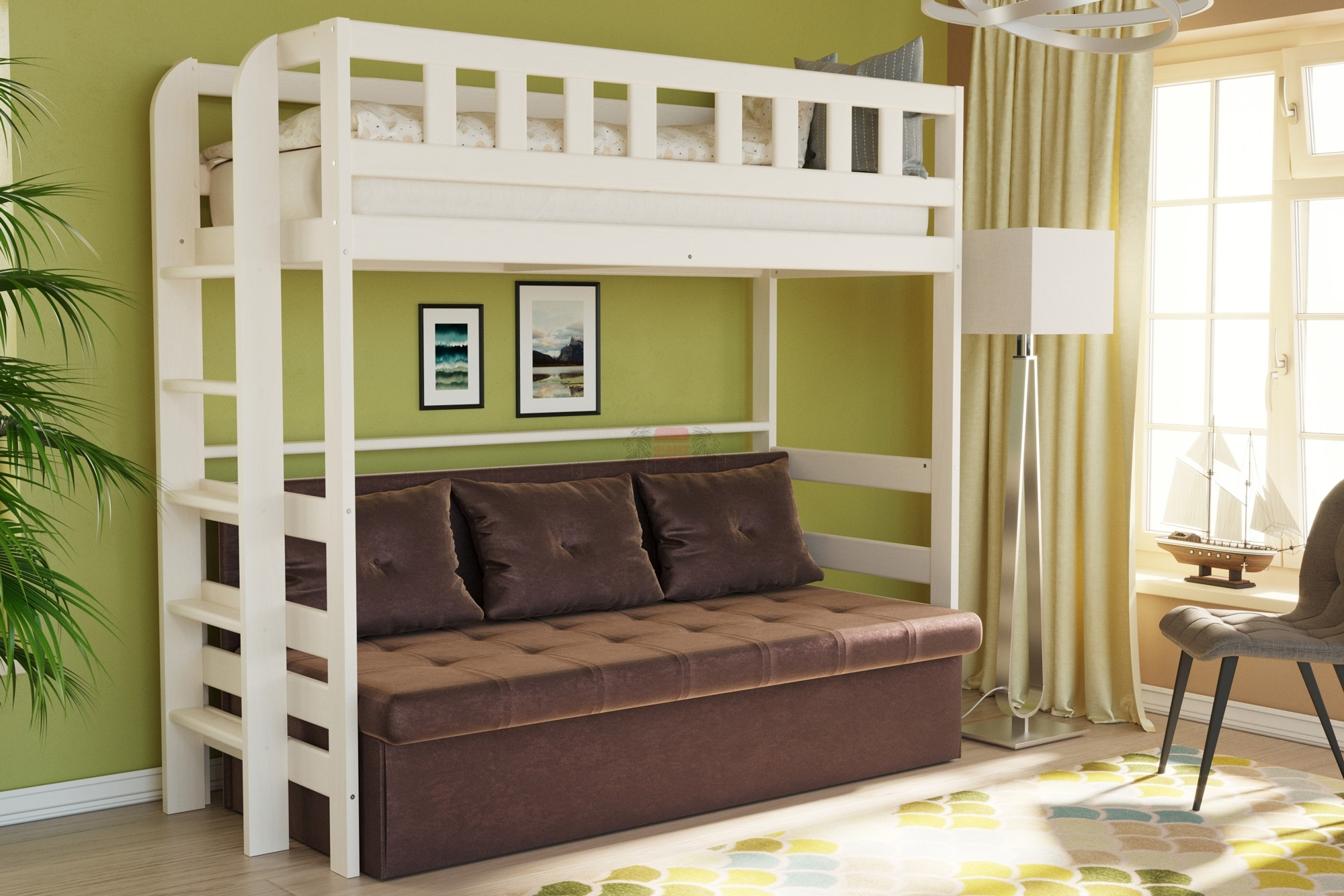 достоинства двухъярусной кровати-дивана