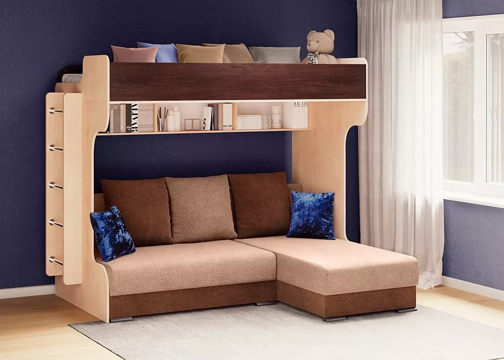как выбрать двухъярусную кровать с диваном