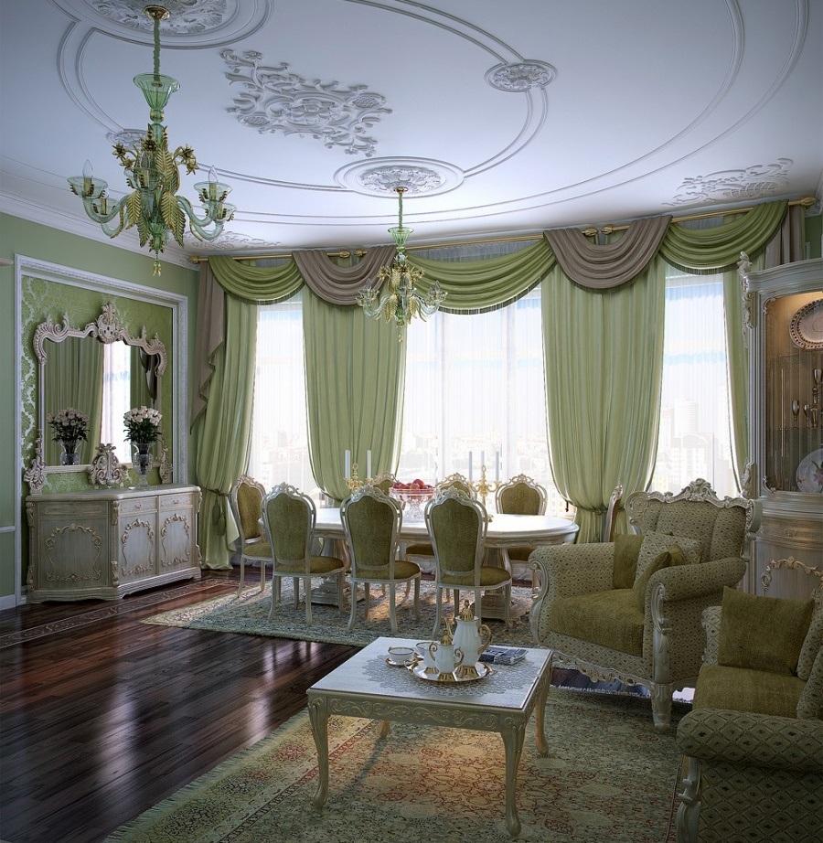 греческие шторы в гостиной