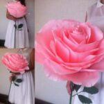 большая роза из салфеток