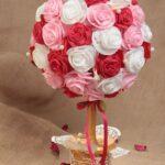 круглый букет из роз