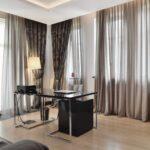 шторы коричневые с тюлем