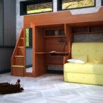 желтый диван с кроватью на верхнем ярусе