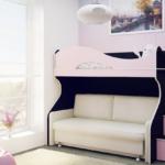 варианты размещения двухъярусных кроватей с диваном