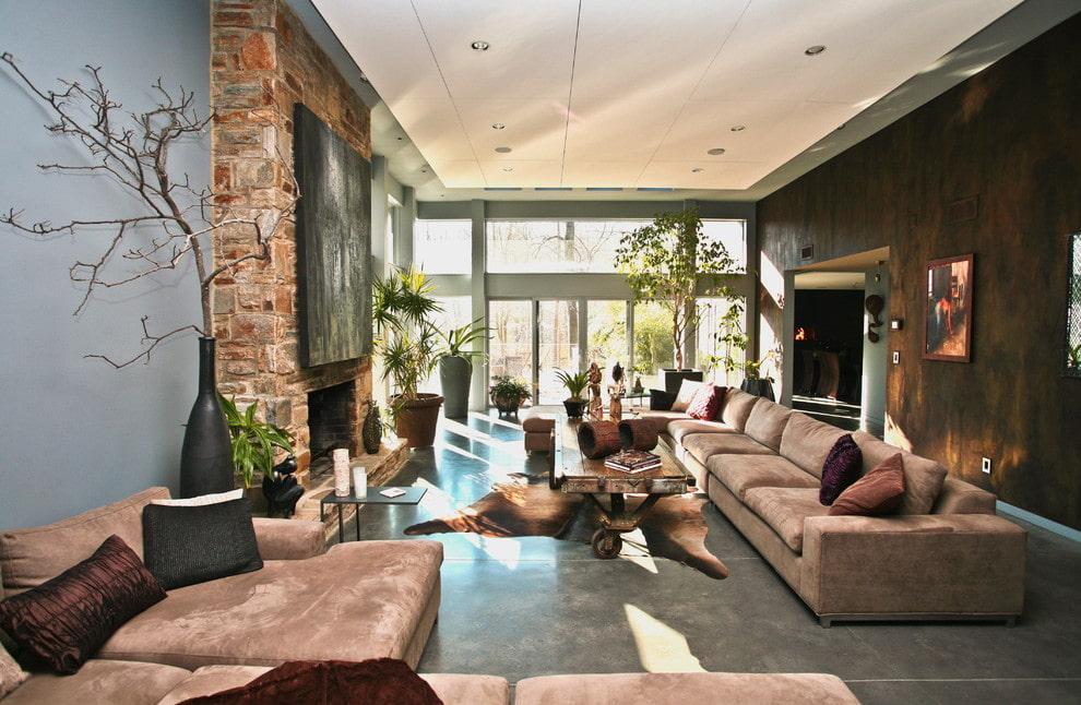 коричневый диван дизайн фото