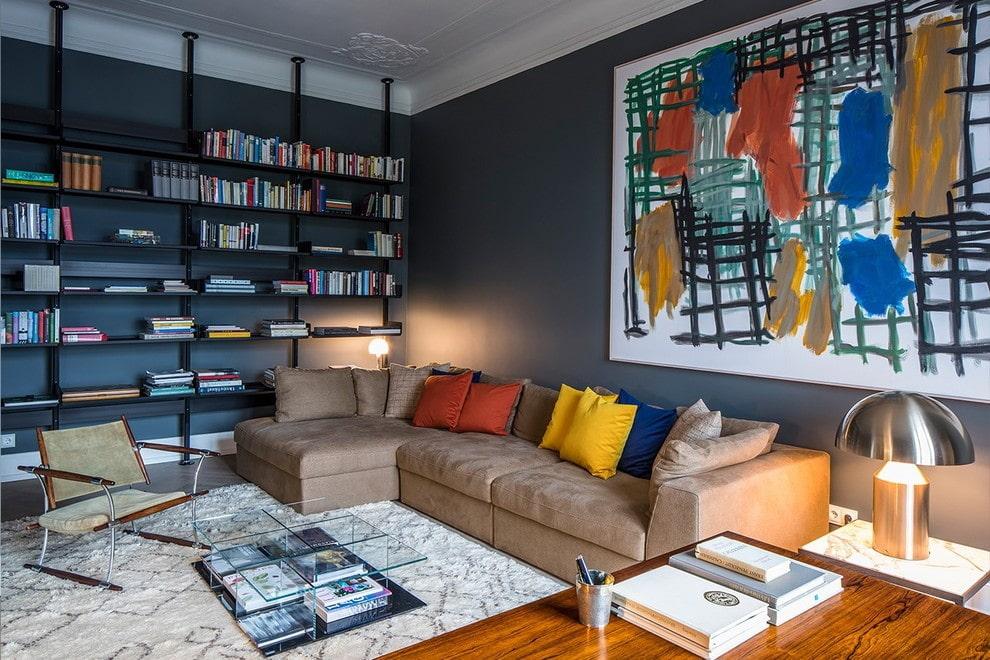 коричневый диван идеи дизайна