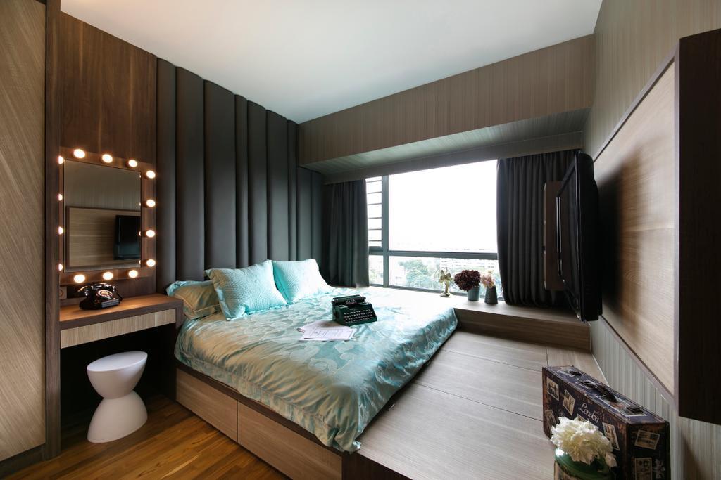 кровать подиум в спальне